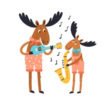 Cute amusing elk family playing musical instruments