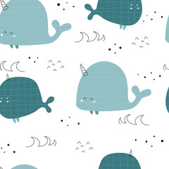 Seamless pattern with whale unicorn, decor elements. colorful vector for kids. hand drawing, flat style. baby design for fabric, print, textile, wrapper