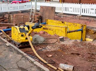 Baustelle auf einer Straße Wasserleitung
