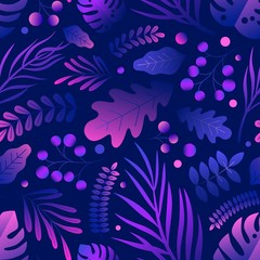 Trendy natural seamless patern with gradient purple tropical foliage. Gorgeous elegant endless background with exotic leaves. Colorful summer pattern. Vector illustration