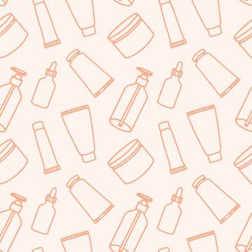 Cosmetics and makeup seamless pattern in line art style. Vector illustration. Contour lines background. Dropper bottle for oil, face cream, hand cream, gel, moose.