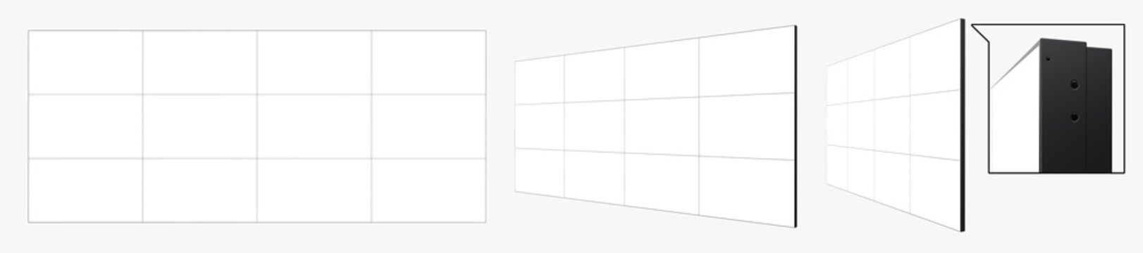 Set of Views of Detailed 4x3 Video Wall Templates (12 screens). 3D Render Isolated on White Background.