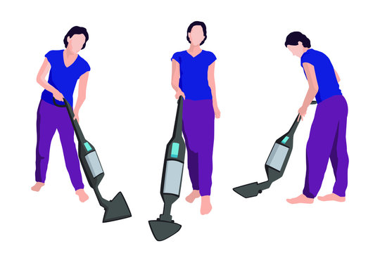 Young woman cleans floor using wireless vacuum cleaner. Flat style character illustration.Stay home and clean up a house concept.Girl tidying. Set with working maid. Front, side and three-quarter view