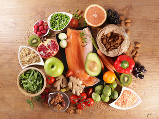 health food selection with fish, fruit and vegetable