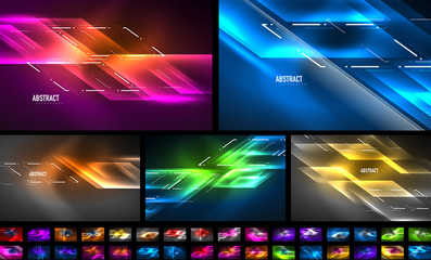 Set of dynamic neon shiny abstract backgrounds. Trendy abstract layout templates for business or technology presentation, internet poster or web brochure cover, wallpaper