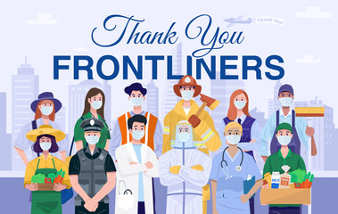 Thank You Frontliners Concept. Various occupations people wearing protective masks. Vector