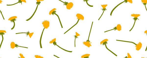 Türaufkleber Künstlich Yellow dandelions flowers, seamless pattern. Vector illustration.