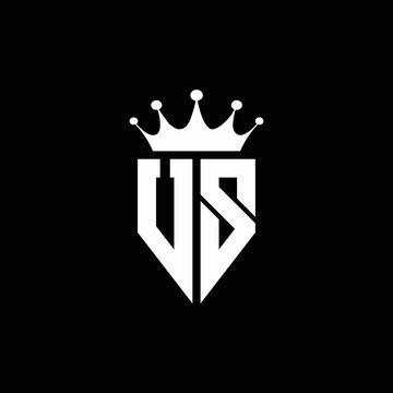 US logo monogram emblem style with crown shape design template