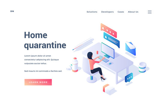 Web banner with person working remotely being in quarantine