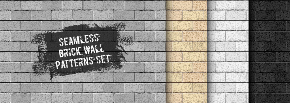 Realistic Vector brick wall seamless pattern set. Yellow sand, gray, black brick texture background collection for print, paper, design, decor, photo background