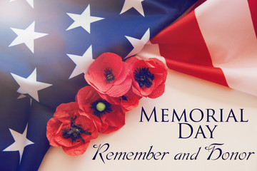 Foto op Canvas Poppy American flag and a poppy flowers with Memorial Day Remember and Honor text background