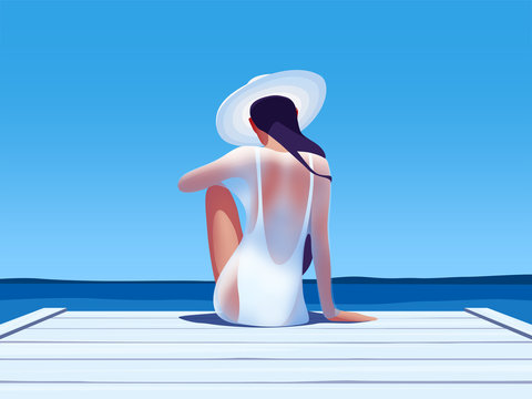 Illustration of woman looking at sea while sitting on pier