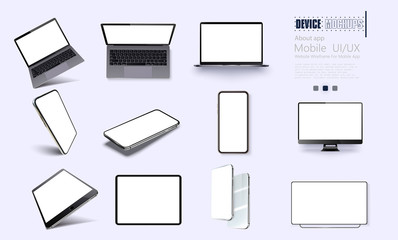 A collection of device at different angles. Vector illustration mockups. Collection mobile devices isolated on white background. Smartphone, laptop, tablet, tv perspective view. Rotated position.UI/UX Fototapete