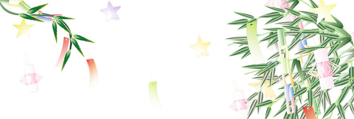 七夕の笹飾りのイラスト笹の葉や竹にあみ飾りと星のイラストバナー素材