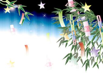七夕の笹飾りのイラスト笹の葉や竹にあみ飾りと星のイラスト横スタイル夜のイメージ背景素材