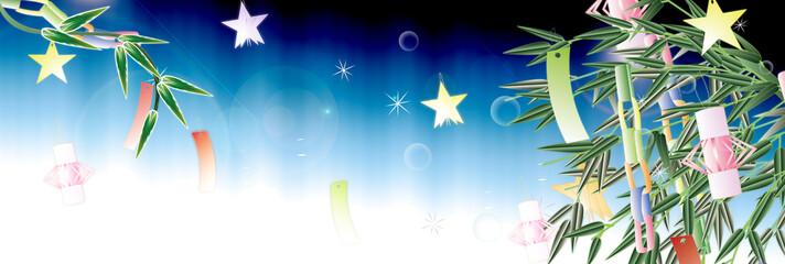 七夕の笹飾りのイラスト笹の葉や竹にあみ飾りと星のイラスト夜のイメージバナー素材