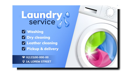 Laundry Service Advertise Promo Banner Vector. Laundry Electronic Automatical Washing Device Filled Color Clothes. Dry And Leather Cleaning, Pickup And Delivery Mockup Illustration