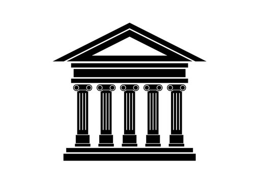 Ancient building icon vector. Ancient temple with columns icon. Historical building black icon isolated on a white background. Ancient greek temple vector. Bank icon vector