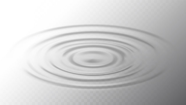 Ripple Water Surface From Drop Side View Vector. Gravity Capillary Water Waves Motion Produced By Droplet. Beverage Or Drink Swirl Round Texture, Fluid Inertia Mockup Realistic Illustration
