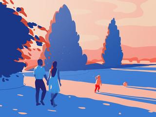 Illustration of family enjoying outdoors