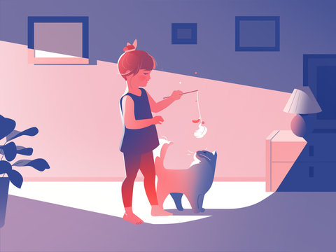 Illustration of girl playing with her car at home
