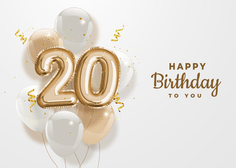 Happy 20th birthday gold foil balloon greeting background. 20 years anniversary logo template- 20th celebrating with confetti. Vector stock.