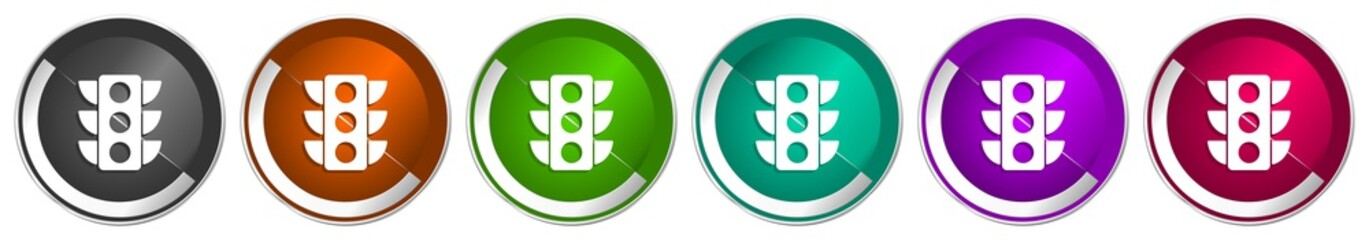 Fotomurales - Traffic lights icon set, silver metallic chrome border vector web buttons in 6 colors options for webdesign