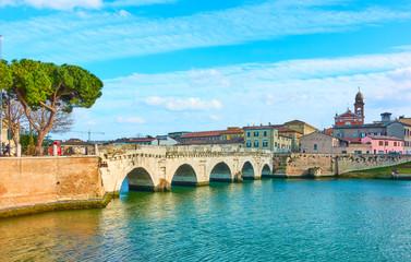 Fototapete - Old town of Rimini and The Bridge of Tiberius
