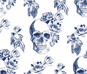 Vintage blue skull with goldfish and flowers seamless pattern
