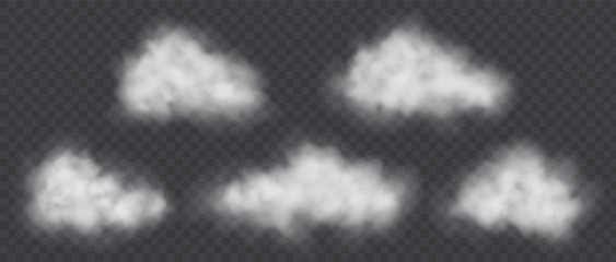 Fototapeta White smoke clouds set isolated on transparent background. Air pollution concept. Cloudy weather vector illustration. obraz