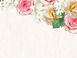 Fototapete - Beautiful floral background of roses and jasmine. Isolated