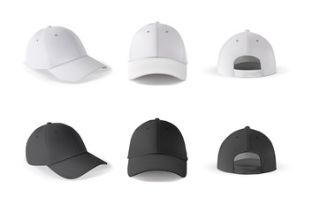 Baseball cap. Realistic baseball cap template front, side, back views. Black and white blank cap isolated on white background. Empty mockup set with different side of sport hat.