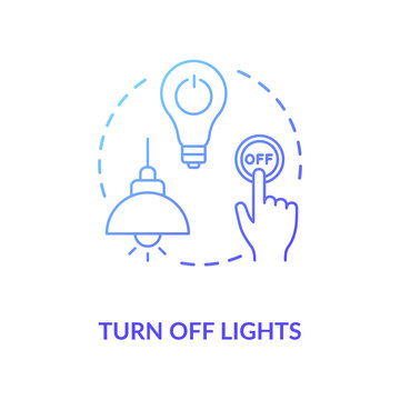 Turn off light blue concept icon. Hand pressing lamp switch. Preserving energy usage. Electricity consumption. Resource saving idea thin line illustration. Vector isolated outline RGB color drawing