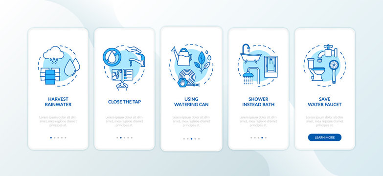 Water saving tips onboarding mobile app page screen with concepts. Money economy, cost effective water use walkthrough five steps graphic instructions. UI vector template with RGB color illustrations