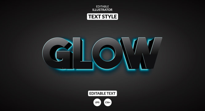 Glowing blue light background text effect. Editable text effect