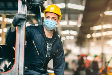 Worker wear disposable face mask for protection Corona Virus Spreading and Smoke dust air pollution...
