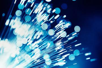 Blue light fiber optic, Super high speed digital data telecommunication technology for background. Wall mural