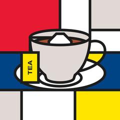 Tea cup with tea bag. Modern style art with rectangular colour blocks. Piet Mondrian style pattern.