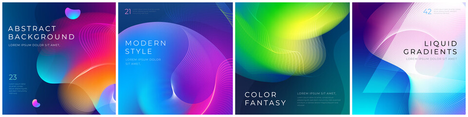 Fototapeta Set of square liquid color abstract geometric shapes. Fluid gradient elements for minimal banner, logo, social post. Futuristic trendy dynamic square banners. Abstract background. Eps10 vector.