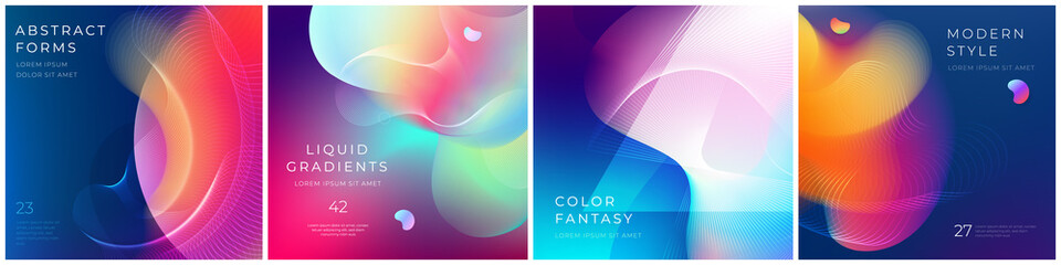 Set of square liquid color abstract geometric shapes. Fluid gradient elements for minimal banner, logo, social post. Futuristic trendy dynamic square banners. Abstract background. Eps10 vector.