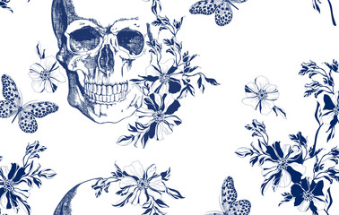 Vintage blue skull with flowers and butterflies seamless pattern