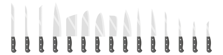 Set of kitchen knives. Flat style. Vector illustration