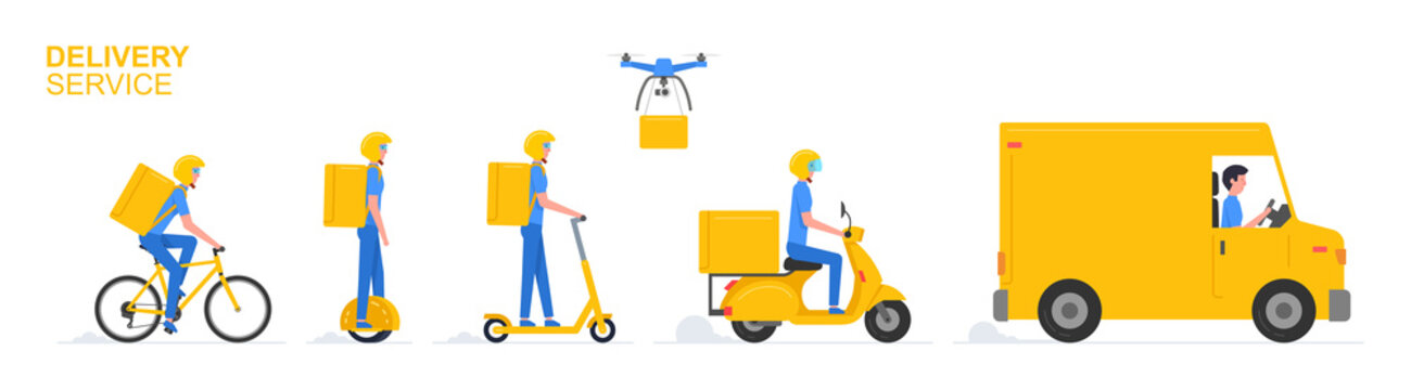 Online delivery service. Truck, electric scooter, gyroboard, scooter and bicycle courier. Delivery service concept. Flat Style