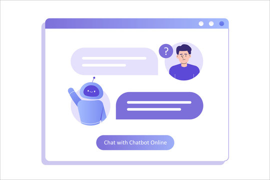 Chatbot ai and customer service concept. Young man talking with chatbot in a big user interface. Chat bot virtual assistant via messaging. Customer support. Helping. Vector isolated illustration