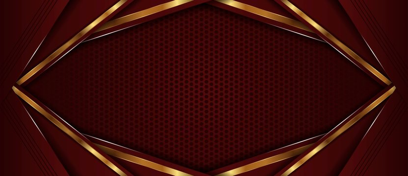 abstract dark red with golden line overlap layer