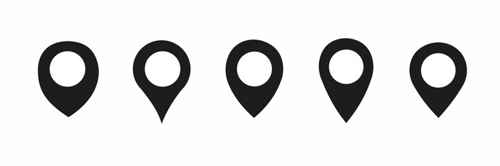 Location pin icon. Map pin place marker. Location icon. Map marker pointer icon set. GPS location symbol collection. Flat vector illustration.