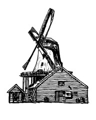 old windmill vector illustration
