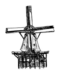 Naturalistic and detailed drawing of a windmill - Dutch windmills in the windmill park of Kinderijk in the Netherlands - Vector graphic
