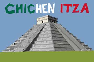 chichen itza pyramid mexico vector