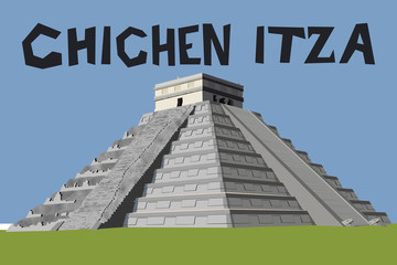 Detailed and naturalistic vector graphic of the Chichen Itza Pyramid on the Yucatan Peninsula, Mexico, Central America